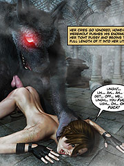 Her cries go ignored, however, as the werewolf pushes his enormous cock into her tight pussy - Clara Ravens 2 by 3D Collection
