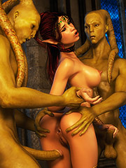 Naughty dirty girls get fucked hard by conjured demons - Elven desires lost innocence  by 3D Collection